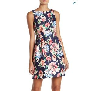 Vince Camuto Floral Fit & Flare Scuba Dress Size 8